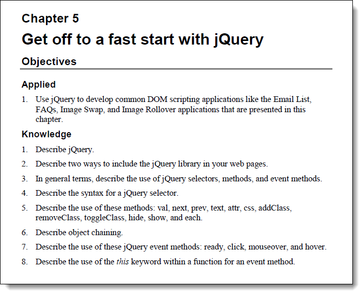 jQuery objectives